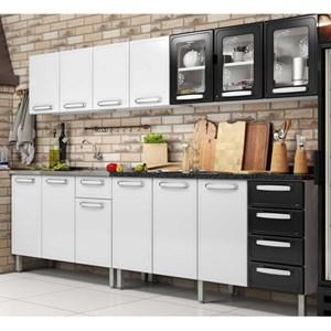 Cozinha Modulada Evidence Aço 6 Módulos Composição 49 Branco/Preto - Bertolini