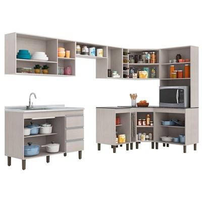 Cozinha Modulada Karen 10 Módulos 7600 P14 Malbec/Avelã - Mpozenato