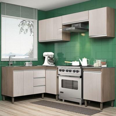 Cozinha Modulada Karen 6 Módulos 7750 P14 Malbec/Avelã - Mpozenato