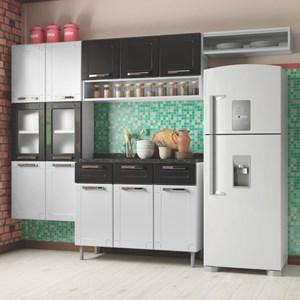 Cozinha Modulada Múltipla Aço 4 Módulos Composição 3 Branco/Preto - Bertolini