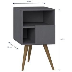 Criado Mudo Pés Palito Retrô 1008 com Porta Espresso - BE Mobiliário
