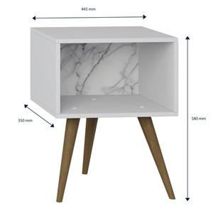 Criado Mudo Retrô 1001 Pés Palito Branco/Carrara - BE Mobiliário