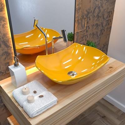 Cuba Pia de Apoio para Banheiro Abaulada Luxo 42 C08 Amarelo - Mpozenato