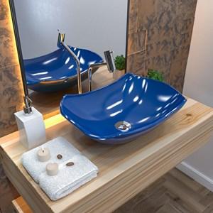 Cuba Pia de Apoio para Banheiro Abaulada Luxo 42 C08 Azul Escuro - Mpozenato
