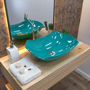 Cuba Pia de Apoio para Banheiro Abaulada Luxo 42 C08 Azul Turquesa - Mpozenato