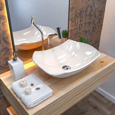 Cuba Pia de Apoio para Banheiro Abaulada Luxo 42 C08 Bege - Mpozenato
