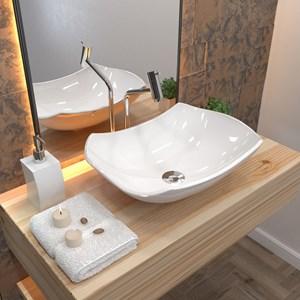 Cuba Pia de Apoio para Banheiro Abaulada Luxo 42 C08 Branco - Mpozenato