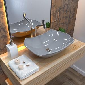Cuba Pia de Apoio para Banheiro Abaulada Luxo 42 C08 Cinza - Mpozenato