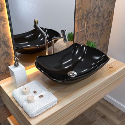 Cuba Pia de Apoio para Banheiro Abaulada Luxo 42 C08 Preto - Mpozenato