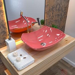 Cuba Pia de Apoio para Banheiro Abaulada Luxo 42 C08 Rosa - Mpozenato
