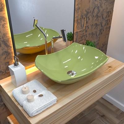 Cuba Pia de Apoio para Banheiro Abaulada Luxo 42 C08 Verde Acqua - Mpozenato