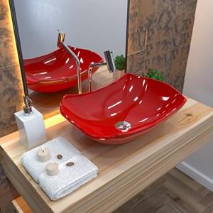 Cuba Pia de Apoio para Banheiro Abaulada Luxo 42 C08 Vermelho - Mpozenato