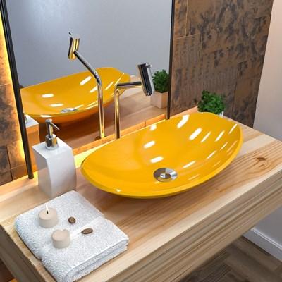 Cuba Pia de Apoio para Banheiro Canoa Luxo 45 C08 Amarelo - Mpozenato