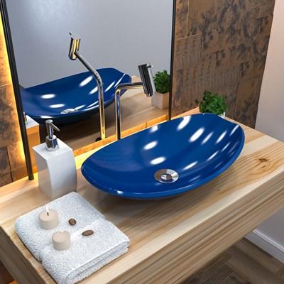 Cuba Pia de Apoio para Banheiro Canoa Luxo 45 C08 Azul Escuro - Mpozenato