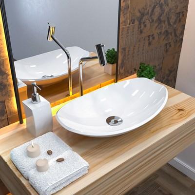 Cuba Pia de Apoio para Banheiro Canoa Luxo 45 C08 Branco - Mpozenato