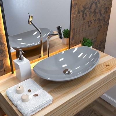 Cuba Pia de Apoio para Banheiro Canoa Luxo 45 C08 Cinza - Mpozenato