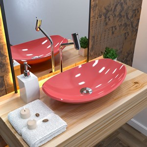 Cuba Pia de Apoio para Banheiro Canoa Luxo 45 C08 Rosa - Mpozenato