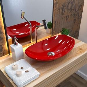 Cuba Pia de Apoio para Banheiro Canoa Luxo 45 C08 Vermelho - Mpozenato