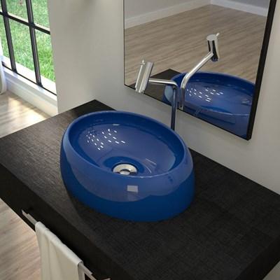 Cuba Pia de Apoio para Banheiro Oval Capri OV39W C08 Azul Escuro - Mpozenato