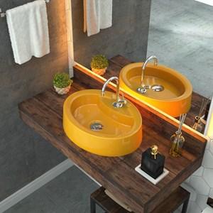 Cuba Pia de Apoio para Banheiro Oval Ox 43 C08 Amarelo - Mpozenato