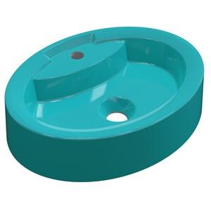 Cuba Pia de Apoio para Banheiro Oval Ox 43 C08 Azul Turquesa - Mpozenato