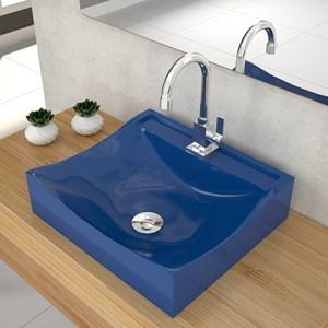 Cuba Pia De Apoio Para Banheiro Quadrada Lunna Q44 Azul Escuro C08 - Mpozenato