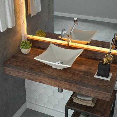 Cuba Pia de Apoio para Banheiro Quadrada Luxo 30 C08 Bege - Mpozenato