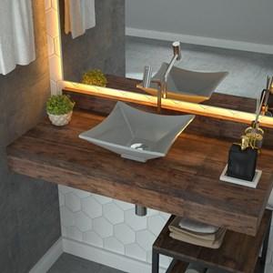 Cuba Pia de Apoio para Banheiro Quadrada Luxo 30 C08 Cinza - Mpozenato