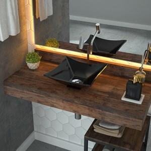 Cuba Pia de Apoio para Banheiro Quadrada Luxo 30 C08 Preto - Mpozenato
