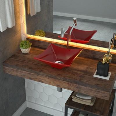 Cuba Pia de Apoio para Banheiro Quadrada Luxo 30 C08 Vermelho - Mpozenato
