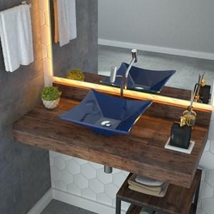 Cuba Pia de Apoio para Banheiro Quadrada Luxo 34 C08 Azul Escuro - Mpozenato