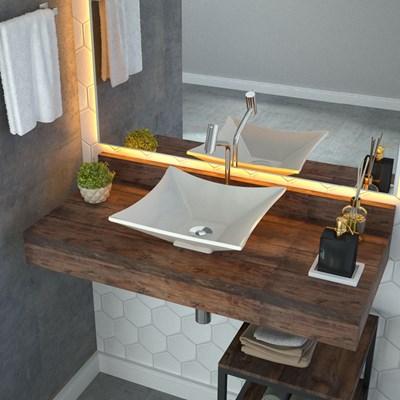 Cuba Pia de Apoio para Banheiro Quadrada Luxo 34 C08 Bege - Mpozenato