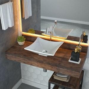 Cuba Pia de Apoio para Banheiro Quadrada Luxo 34 C08 Branco - Mpozenato