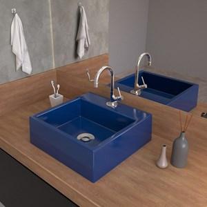 Cuba Pia De Apoio Para Banheiro Quadrada Q355W Azul Escuro C08 - Mpozenato