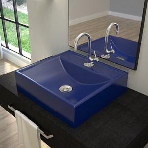 Cuba Pia De Apoio Para Banheiro Quadrada Ravena Q39 Azul Escuro C08 - Mpozenato