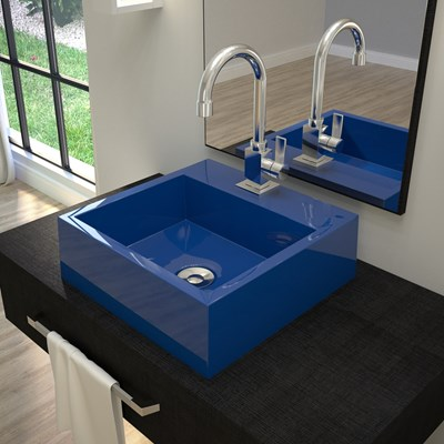 Cuba Pia De Apoio Para Banheiro Quadrada Veneza Q395 Azul Escuro C08 - Mpozenato