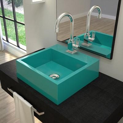 Cuba Pia De Apoio Para Banheiro Quadrada Veneza Q395 Azul Turquesa C08 - Mpozenato