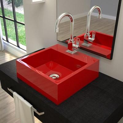 Cuba Pia De Apoio Para Banheiro Quadrada Veneza Q395 Vermelho C08 - Mpozenato