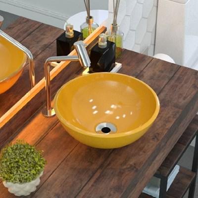 Cuba Pia de Apoio para Banheiro Redonda Bowl 30 C08 Amarelo - Mpozenato
