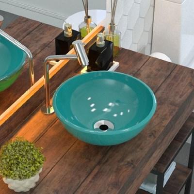 Cuba Pia de Apoio para Banheiro Redonda Bowl 30 C08 Azul Turquesa - Mpozenato