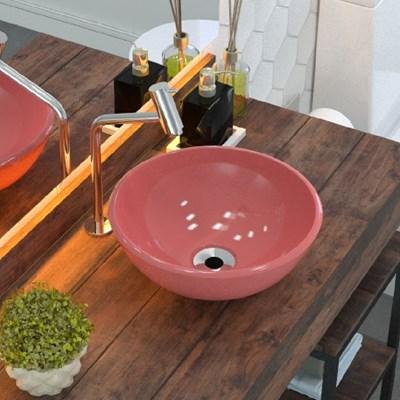 Cuba Pia de Apoio para Banheiro Redonda Bowl 30 C08 Rosa - Mpozenato