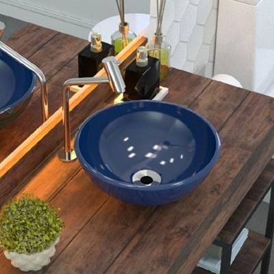 Cuba Pia de Apoio para Banheiro Redonda Bowl 35 C08 Azul Escuro - Mpozenato