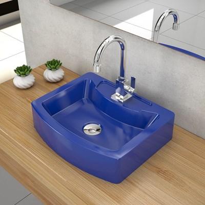 Cuba Pia de Apoio para Banheiro Retangular Aria RT41 C08 Azul Escuro - Mpozenato