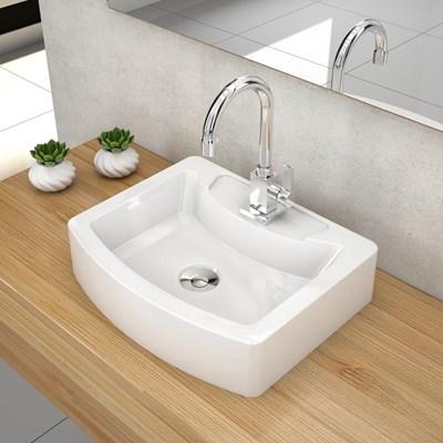 Cuba Pia de Apoio para Banheiro Retangular Aria RT41 C08 Branco - Mpozenato