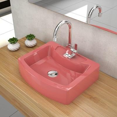Cuba Pia de Apoio para Banheiro Retangular Aria RT41 C08 Rosa - Mpozenato