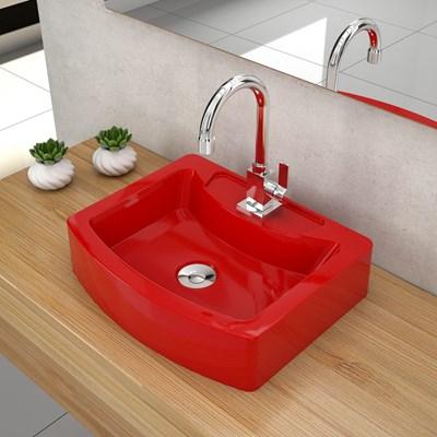 Cuba Pia de Apoio para Banheiro Retangular Aria RT41 C08 Vermelho - Mpozenato