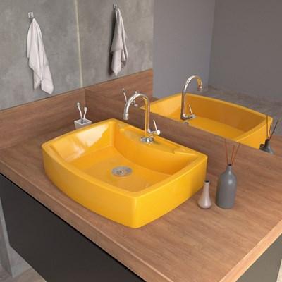 Cuba Pia De Apoio Para Banheiro  Retangular Aria RT50 Amarelo C08 - Mpozenato