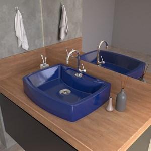 Cuba Pia De Apoio Para Banheiro  Retangular Aria RT50 Azul Escuro C08 - Mpozenato