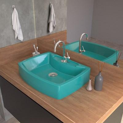 Cuba Pia De Apoio Para Banheiro  Retangular Aria RT50 Azul Turquesa C08 - Mpozenato