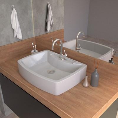 Cuba Pia De Apoio Para Banheiro Retangular Aria RT50 Cinza C08 - Mpozenato